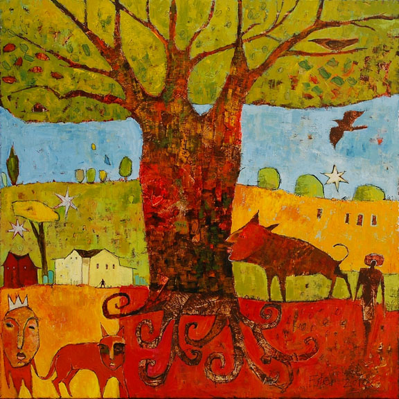 """The Good Tree"" Acrylic on canvas, 37.5"" x 37.5""<br /><strong>- SOLD -</strong>"