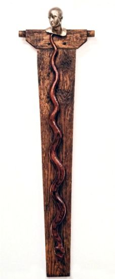 """See No Evil"" table leg, hand-carved snake, cast brass head, 30"" x 9"" x 3""<br /><strong>- <a class=""inquireLink"" href=""JavaScript:newPopup('http://thehaengallery.com/inquiry-form/?subject=Len Fury: See No Evil');"">Please inquire</a> -</strong>"