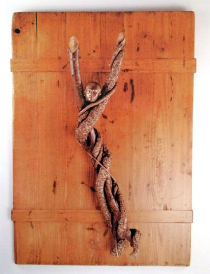 """The Dancer"" pine headboard, bittersweet vine, cast brass head, 30"" x 9"" x 3""<br /><strong>- <a class=""inquireLink"" href=""JavaScript:newPopup('http://thehaengallery.com/inquiry-form/?subject=Len Fury: The Dancer');"">Please inquire</a> -</strong>"