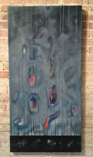 """""""Approaching Storm"""" Latex enamel on canvas, 24"""" x 48""""<br /><strong>- <a class=""""inquireLink"""" href=""""JavaScript:newPopup('http://thehaengallery.com/inquiry-form/?subject=Mark Carter: Approaching Storm');"""">Please inquire</a> -</strong>"""