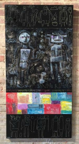 """""""Primative Tapestry"""" Acrylic on panel, 24"""" x 48""""<br /><strong>- <a class=""""inquireLink"""" href=""""JavaScript:newPopup('http://thehaengallery.com/inquiry-form/?subject=Mark Carter: Primitive Tapestry');"""">Please inquire</a> -</strong>"""