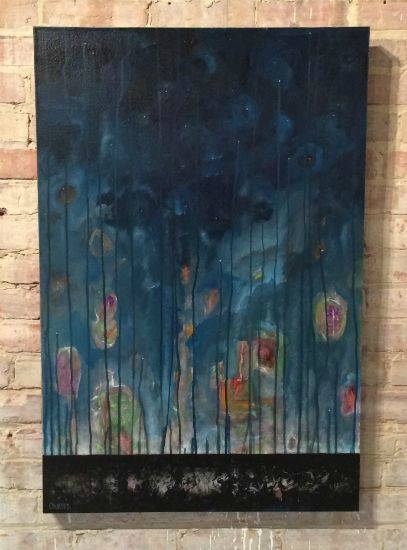 """""""Stardust Memories"""" Latex enamel on canvas, 24"""" x 36""""<br /><strong>- <a class=""""inquireLink"""" href=""""JavaScript:newPopup('http://thehaengallery.com/inquiry-form/?subject=Mark Carter: Stardust Memories');"""">Please inquire</a> -</strong>"""