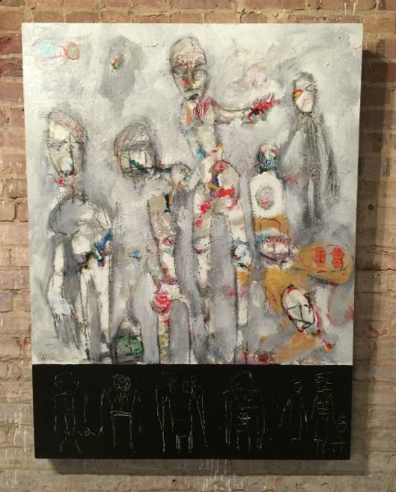 """""""The Idol Figures"""" Latex enamel on wood panel, 36"""" x 48""""<br /><strong>- <a class=""""inquireLink"""" href=""""JavaScript:newPopup('http://thehaengallery.com/inquiry-form/?subject=Mark Carter: The Idol Figures');"""">Please inquire</a> -</strong>"""