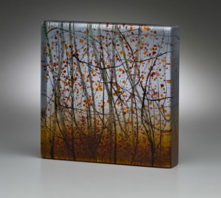 """Dusk Shades"" kiln-formed glass, 6"" x 6"" x 1.25"", $550<br /><strong>- <a class=""inquireLink"" href=""JavaScript:newPopup('http://thehaengallery.com/inquiry-form/?subject=Angelita Surmon: Dusk Shades');"">Please inquire</a> -</strong>"