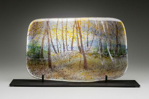 """""""Early Autumn"""" kiln-formed glass, 16"""" x 10.5""""<br /><strong>- <a class=""""inquireLink"""" href=""""JavaScript:newPopup('http://thehaengallery.com/inquiry-form/?subject=Angelita Surmon: Early Autumn');"""">Please inquire</a> -</strong>"""