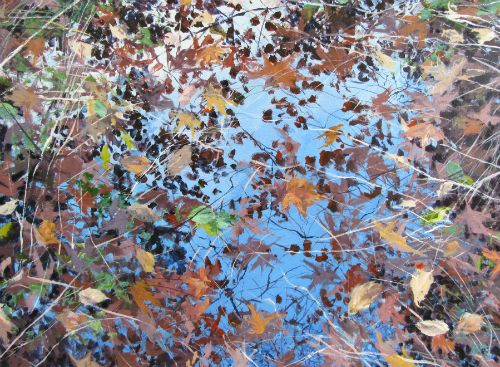 """Fall Marsh"" acrylic on canvas, 48"" x 36"", $3900<br /><strong>- <a class=""inquireLink"" href=""JavaScript:newPopup('http://thehaengallery.com/inquiry-form/?subject=Angelita Surmon: Fall Marsh');"">Please inquire</a> -</strong>"