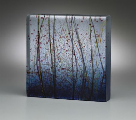 """Lagoon"" kiln-formed glass, 6"" x 6"" x 1.25""<br /><strong>- SOLD -</strong>"