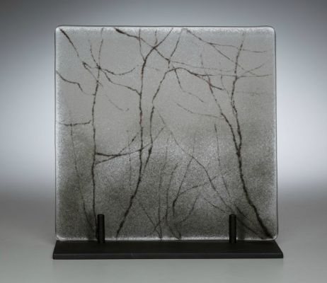 """""""Mist"""" kiln-formed glass, 8"""" x 8""""<br /><strong>- <a class=""""inquireLink"""" href=""""JavaScript:newPopup('http://thehaengallery.com/inquiry-form/?subject=Angelita Surmon: Mist');"""">Please inquire</a> -</strong>"""
