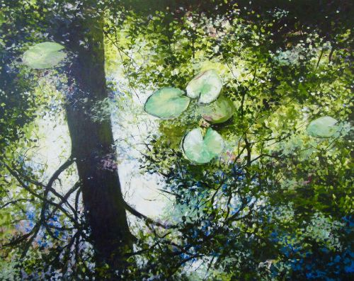 """Reflecting Summer"" acrylic on canvas, 60"" x 48"", $4900<br /><strong>- <a class=""inquireLink"" href=""JavaScript:newPopup('http://thehaengallery.com/inquiry-form/?subject=Angelita Surmon: Reflecting Summer');"">Please inquire</a> -</strong>"