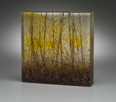 """Snow Flurries"" kiln-formed glass, 6"" x 6"" x 1.25"", $550<br /><strong>- <a class=""inquireLink"" href=""JavaScript:newPopup('http://thehaengallery.com/inquiry-form/?subject=Angelita Surmon: Snow Flurries');"">Please inquire</a> -</strong>"