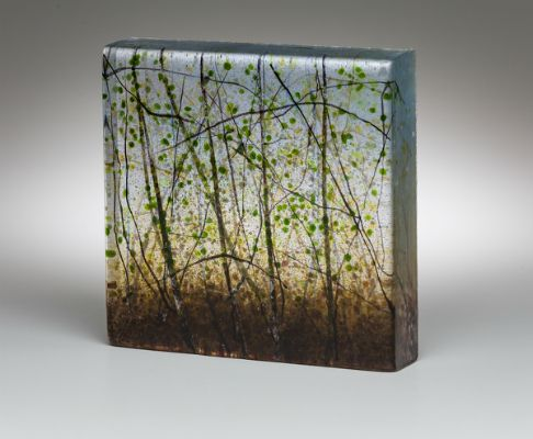 """Spring Forest"" kiln-formed glass, 6"" x 6"" x 1.25"", $550<br /><strong>- <a class=""inquireLink"" href=""JavaScript:newPopup('http://thehaengallery.com/inquiry-form/?subject=Angelita Surmon: Spring Forest');"">Please inquire</a> -</strong>"