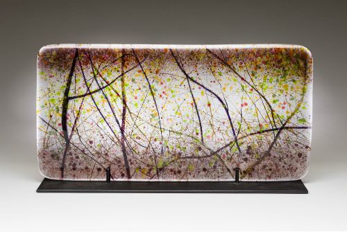 """""""Vine Patterns"""" kiln-formed glass, 21"""" x 11""""<br /><strong>- <a class=""""inquireLink"""" href=""""JavaScript:newPopup('http://thehaengallery.com/inquiry-form/?subject=Angelita Surmon: Vine Patterns');"""">Please inquire</a> -</strong>"""