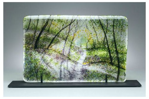 """Scattered Light"" kiln-formed glass, 16"" x 10""<br /><strong>- SOLD -</strong>"