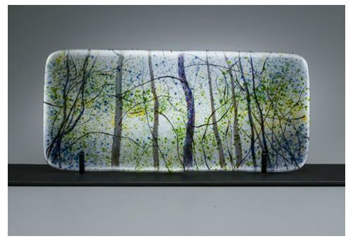 """Aspen Light"" kiln-formed glass, 14"" x 6""<br /><strong>- SOLD -</strong>"