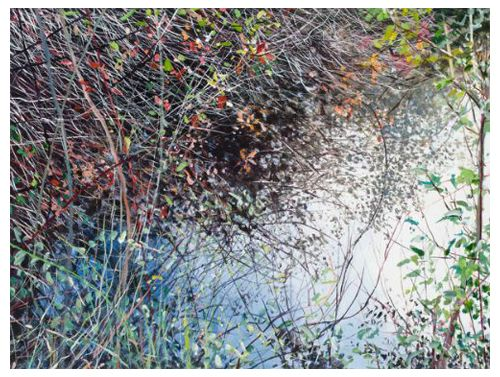 """Beaver Lake #1"" acrylic on canvas, 48"" x 36"", $3900<br /><strong>- <a class=""inquireLink"" href=""JavaScript:newPopup('http://thehaengallery.com/inquiry-form/?subject=Angelita Surmon: Beaver Lake #1');"">Please inquire</a> -</strong>"