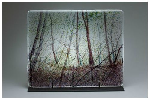 """Light Through The Canopy"" kiln-formed glass, 20"" x 16""<br /><strong>- SOLD -</strong>"