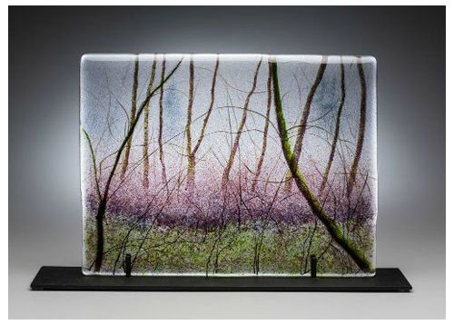 """Winter Woods"" kiln-formed glass, 15.5"" x 11.75"","