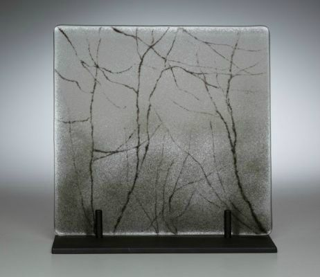 """Mist"" kiln-formed glass, 8"" x 8"", $500<br /><strong>- <a class=""inquireLink"" href=""JavaScript:newPopup('http://thehaengallery.com/inquiry-form/?subject=Angelita Surmon: Mist');"">Please inquire</a> -</strong>"