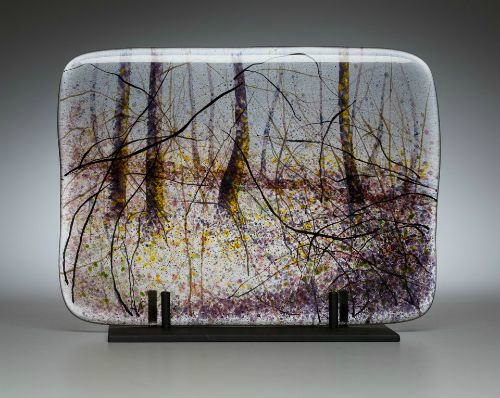 """Winter Light In The Woods"" kiln-formed glass, 11"" x 8"", $950<br /><strong>- <a class=""inquireLink"" href=""JavaScript:newPopup('http://thehaengallery.com/inquiry-form/?subject=Angelita Surmon: Winter Light In The Woods');"">Please inquire</a> -</strong>"