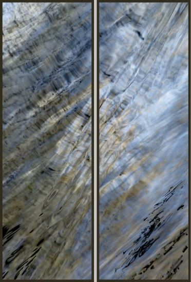 """Looking Glass Confluence"" resin-coated pigment print on canvas, birch panel, <br />framed, 16"" x 48"" ea, $3600 for diptych- <strong>- <a class=""inquireLink"" href=""JavaScript:newPopup('http://thehaengallery.com/inquiry-form/?subject=Chris Foley: Looking Glass Confluence');"">Please inquire</a> -</strong>"