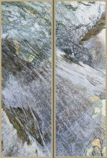 """Tributary"" resin-coated pigment print on canvas, birch panel,<br />framed, 16"" x 48"" ea, $3600 for diptych- <strong><a class=""inquireLink"" href=""JavaScript:newPopup('http://thehaengallery.com/inquiry-form/?subject=Chris Foley: Tributary');"">Please inquire</a> -</strong>"