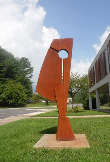 """Diversion"" corten steel, 9'-6"" x 40"" x 16""<br /><strong>- <a class=""inquireLink"" href=""JavaScript:newPopup('http://thehaengallery.com/inquiry-form/?subject=Kyle Lusk: Diversion');"">Please inquire</a> -</strong>"