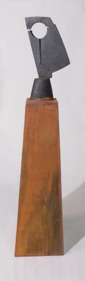 """Fractured"" cast iron & corten steel, 55"" x 8"" x 9""<br /><strong>- SOLD -</strong>"
