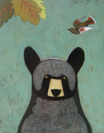 """Bear Jr"" Acrylic and oil on panel, 14"" x 18"","