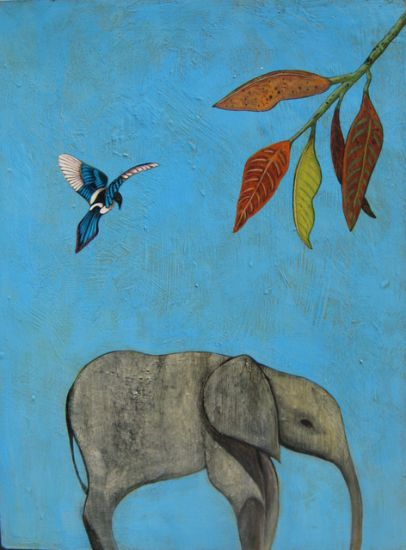 """Elephant Calf II"" Acrylic and oil on panel, 18"" x 24"","