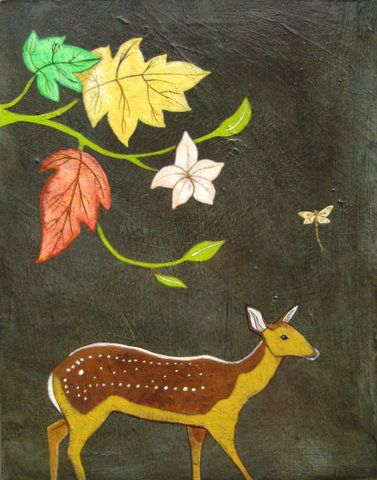 """Fall Fawn"" Acrylic and oil on panel, 19"" x 22""<br /><strong>- SOLD-</strong>"