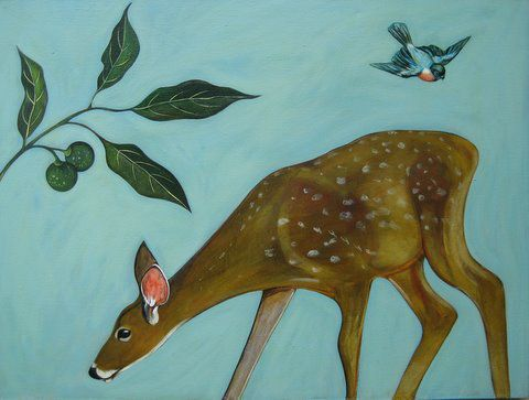 """Foraging Deer"" Acrylic and oil on panel, 48"" x 36"", $5200<br /><strong>- <a class=""inquireLink"" href=""JavaScript:newPopup('http://thehaengallery.com/inquiry-form/?subject=Phyllis Stapler: Foraging Deer');"">Please inquire</a> -</strong>"