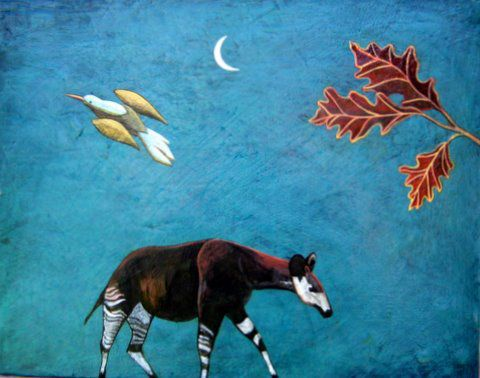 """Okapi and Oak Tree"" Acrylic and oil on panel, 22"" x 19""<br /><strong>- <a class=""inquireLink"" href=""JavaScript:newPopup('http://thehaengallery.com/inquiry-form/?subject=Phyllis Stapler: Okapi and Oak Tree');"">Please inquire</a> -</strong>"