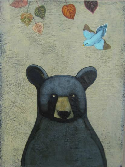 """Black Bear"" Acrylic and oil on panel, 18"" x 24""<br /><strong>- SOLD -</strong>"