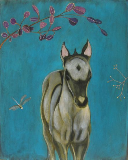 """Dun Horse"" Acrylic and oil on panel, 24"" x 30"", $3600<br /><strong>- <a class=""inquireLink"" href=""JavaScript:newPopup('http://thehaengallery.com/inquiry-form/?subject=Phyllis Stapler: Dun Horse');"">Please inquire</a> -</strong>"