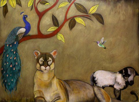 """A Peaceable Kingdom"" Acrylic and oil on panel, 48"" x 36""<br /><strong>- SOLD -</strong>"
