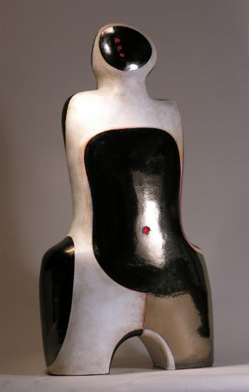 """""""Upon Reflection"""" [view 2] clay with bronze/black glaze and mixed media,<br />32""""h x 17""""w x 10""""d, $7500<strong>- <a class=""""inquireLink"""" href=""""JavaScript:newPopup('http://thehaengallery.com/inquiry-form/?subject=Mary-Ann Prack: Upon Reflection');"""">Please inquire</a> -</strong>"""