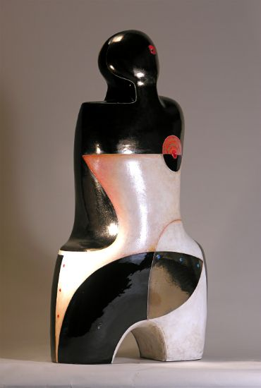 """""""Upon Reflection"""" [view 1] clay with bronze/black glaze and mixed media,<br />32""""h x 17""""w x 10""""d, $7500<strong>- <a class=""""inquireLink"""" href=""""JavaScript:newPopup('http://thehaengallery.com/inquiry-form/?subject=Mary-Ann Prack: Upon Reflection');"""">Please inquire</a> -</strong>"""