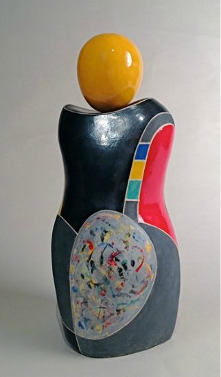 """""""Blossom"""" [view 1] clay with metallic & color glazes, 20""""h x 9""""w x 8""""d<br /><strong>- SOLD -</strong>"""