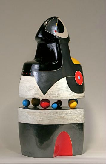 """""""Listening"""" [view 1] clay with metallic & color glazes + bisque<br />25""""h x 14""""w x 9""""d, $8200<strong>- <a class=""""inquireLink"""" href=""""JavaScript:newPopup('http://thehaengallery.com/inquiry-form/?subject=Mary-Ann Prack: Listening');"""">Please inquire</a> -</strong>"""