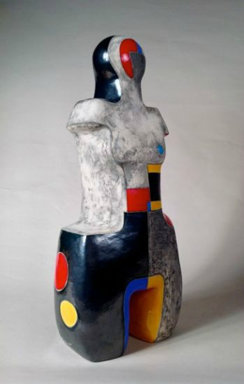"""""""Primary Woman"""" [view 3] clay with metallic & color glazes<br />24""""h x 12""""w x 8""""d, $6500<strong>- <a class=""""inquireLink"""" href=""""JavaScript:newPopup('http://thehaengallery.com/inquiry-form/?subject=Mary-Ann Prack: Primary Woman');"""">Please inquire</a> -</strong>"""