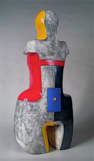 """""""Primary Woman"""" [view 1] clay with metallic & color glazes<br />24""""h x 12""""w x 8""""d, $6500<strong>- <a class=""""inquireLink"""" href=""""JavaScript:newPopup('http://thehaengallery.com/inquiry-form/?subject=Mary-Ann Prack: Primary Woman');"""">Please inquire</a> -</strong>"""